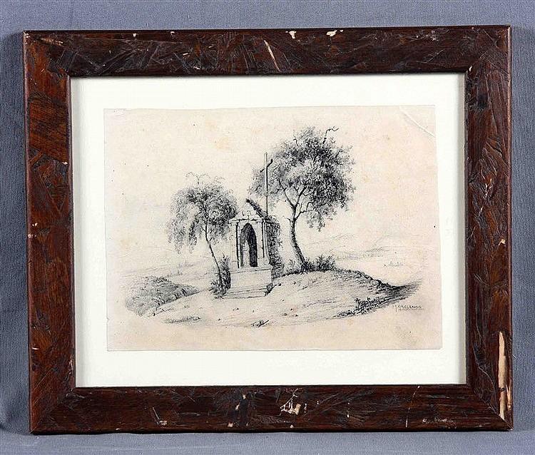 """ABELENDA, MANUEL (1899-1957). """"El crucero"""". Pencil drawing, 18.5x25 cm. Signed."""