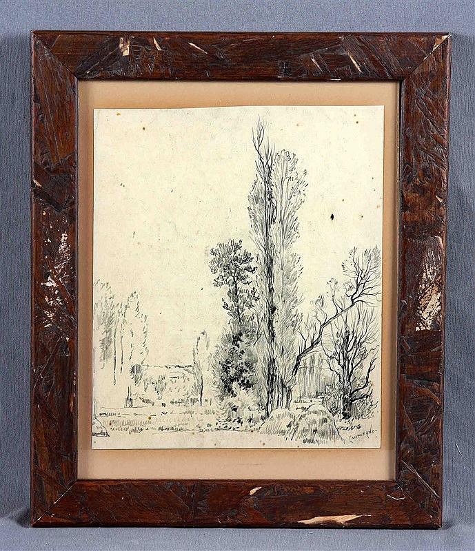 """CAMPUZANO, TOMÁS. (1857-1934). """"Paisaje"""". Pencil drawing, 25x20.5 cm. Signed."""