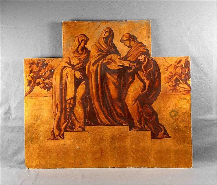"""ANONYMOUS. """"Escena bíblica"""". Oil on board, 100x115 cm."""