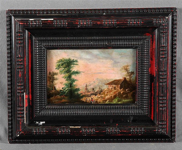 "ANONYMOUS, 19TH CENTURY. ""Paisaje con casa al amanecer"". Oil on tinplate, 16.5x24.5 cm."