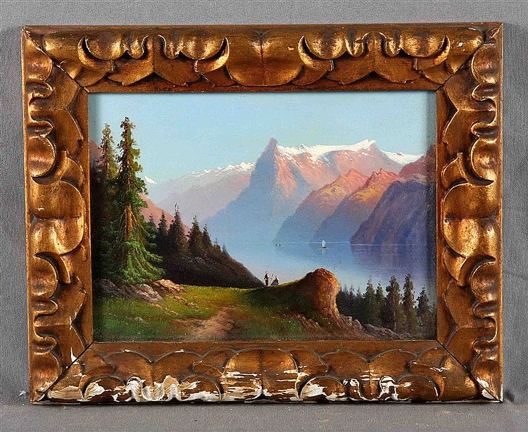 "ANONYMOUS, 20TH CENTURY. ""Paisaje de montaña con figuras"". Oil on cardboard, 23.5x30.5 cm."