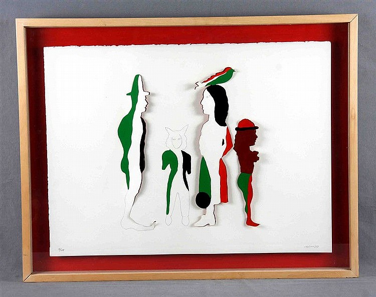 """CASTILLO, JORGE (1933). """"Personajes"""". Die-cut engraving, 55x74 cm. Numbered 2/25, dated 99 and signed in pencil."""