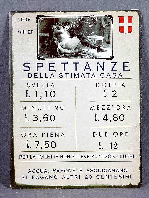Advertising erotic poster Spettanze della Casa del Piacere-Maria Rosa, in enameled sheet metal. Size: 35x26.5 cm.