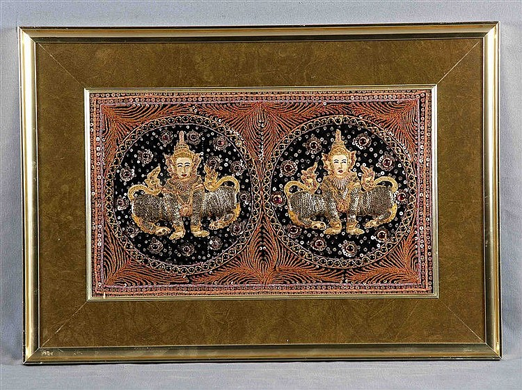 Burmese tapestry decorated with sequins, stones and golden thread, decorated with two figures of deities. Framed in velvet. Size: 30x49 cm.