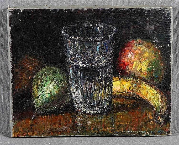 """ANONYMOUS. """"Bodegón"""". Oil on canvas, 21.5x26.5 cm."""