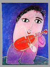 GARCÍA RIPOLLÉS, JUAN. «Violinista». Oil on canvas