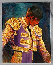"PÉREZ BASSOLS, SALVADOR. ""Mirando al toro"". Oil on canvas"