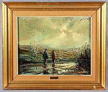 "LULL, JOSÉ. ""Caminantes"". Oil on canvas"