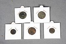 FIVE MOROCCAN COINS, LATE 19TH CENTURY