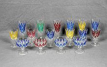A COLORED CUT CRYSTAL GLASS SET
