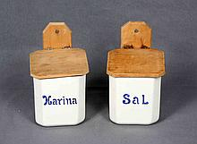 A PAIR OF KITCHEN CANISTERS