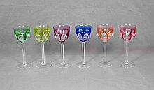 MOSER COLORED CUT CRYSTAL GLASS SET