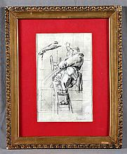 "JOUVENET, JEAN BAPTISTE. ""Atelier"". Graphite and gouache drawing"