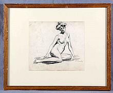 "VARELA, EULOGIO. ""Female Nude"". Charcoal drawing"