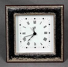 A STERLING SILVER ALARM CLOCK