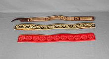 THREE ANTIQUE EMBROIDERED BELTS