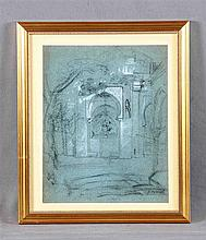 "FERRANT, ALEJANDRO (1843-1917). ""Edificio árabe"". Drawing in charcoal, 31x2"