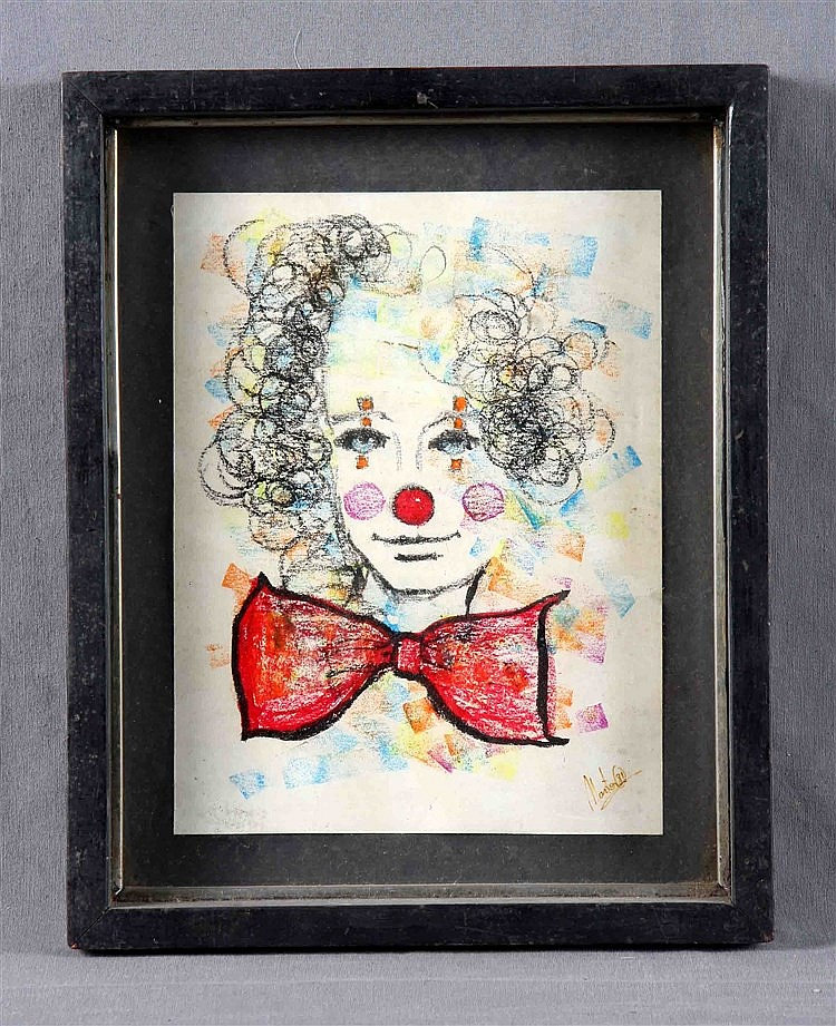 Montes 20th century payaso wax drawing on paper 25x19 for Drawing on wax paper