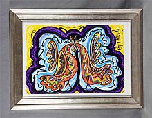 """ALBERTI, RAFAEL (1902-1999). """"Dos palomas"""". Acrylic on cardboard, 63x45 cm."""