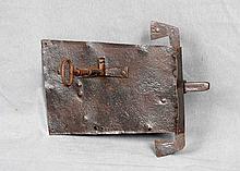 AN ANTIQUE GERMAN IRON DOOR LOCK AND KEY