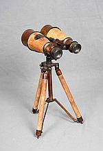 A WOOD AND SILVER-PLATED BINOCULAR