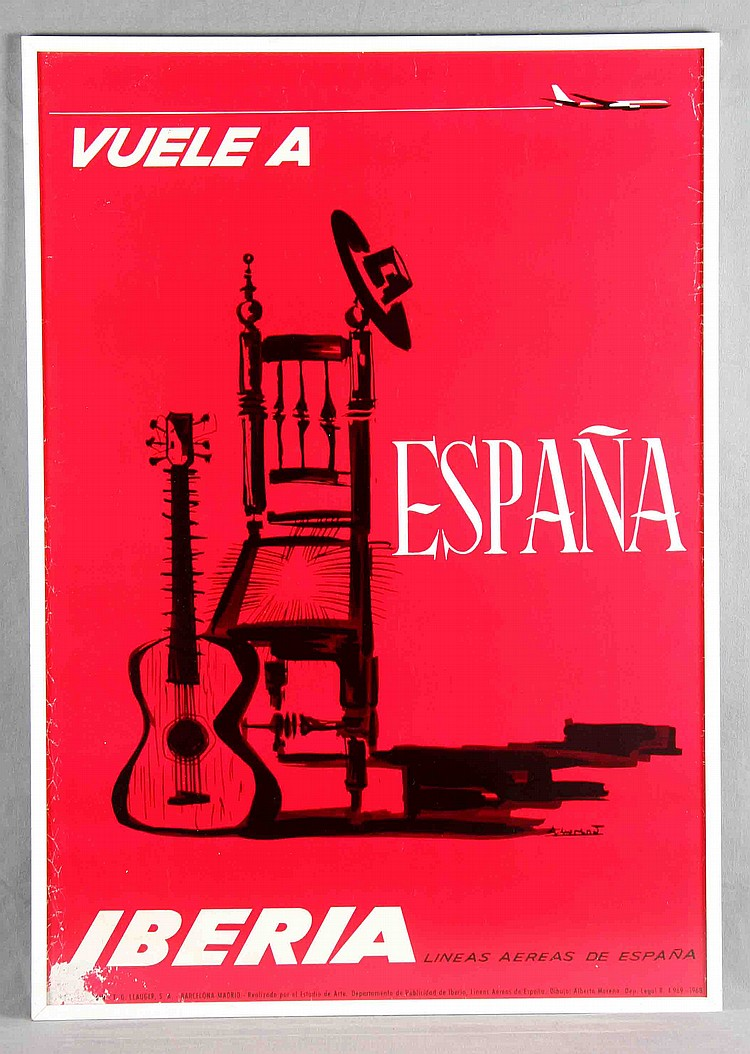 "MORENO, ALBERTO (1927). ""Vuele a España"". Iberia Airlines advertising poster"