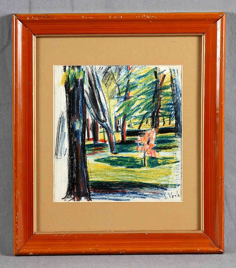 "VARELA ISABEL, EMILIO (1877-1951). ""Landscape with Trees"". Wax on paper"