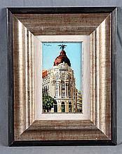 """CRIPTANA, ÁNGEL (S.XX). """"Edificio Metrópolis de Madrid"""". Oil on cardboard"""