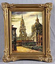 "ILLEGIBLE (20TH CENTURY). ""Vista de la Catedral"". Oil on cardboard"