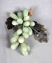 CARVED JADE GRAPES WITH SILVER-PLATED LEAVES