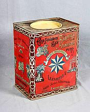 AN ANTIQUE LITHOGRAPHED TIN PLATE BOX