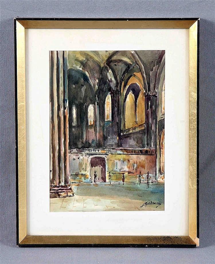 "MONTESINOS, J. (1914-1978). ""Interior de catedral"". Watercolour"