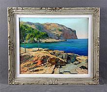 """VENTOSA, JOSÉ (1897-1982). """"Cap Andritxol, Mallorca"""". Oil on canvas"""