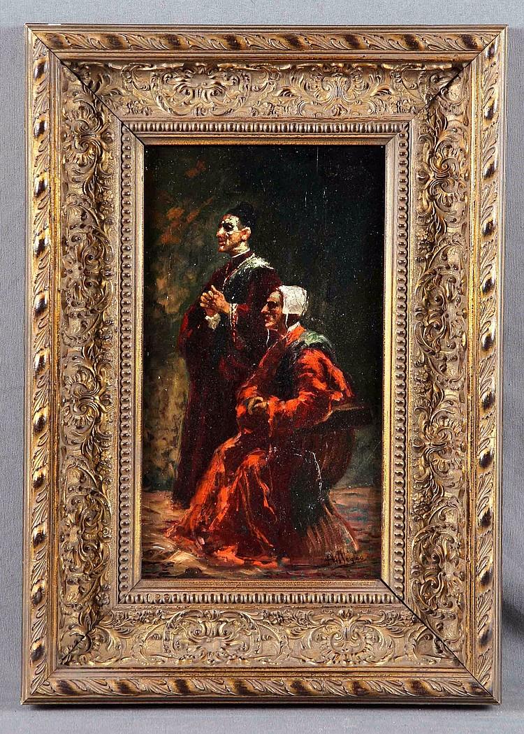 """VILLEGAS CORDERO, JOSÉ (1844-1921) """"Dos personajes"""" Oil on board"""