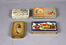 FOUR ANTIQUE TINPLATE BOXES