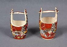 A PAIR OF JAPANESE SATSUMA POLYCHROME PORCELAIN WATER BUCKET VASES