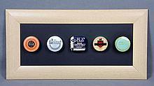 FIVE ANTIQUE TYPEWRITER RIBBON BOXES