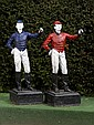 A pair of cast iron lawn jockey's, American, early