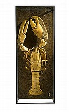 A gigantic lobster in a glass case 2nd half 20th