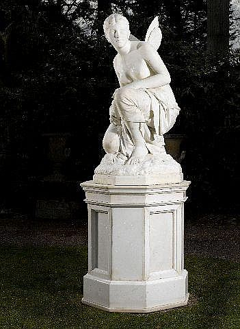 William Couper: A carved white marble figure of