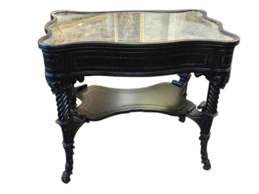 elysee writing desk w antique smoky glass top. Black Bedroom Furniture Sets. Home Design Ideas