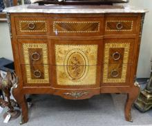 French Marquetry Inlaid 3 Drawer Marble Dresser