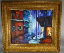 20th c. Oil on Canvas Painting - Bourbon Street