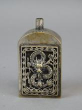 Chinese Silver Snuff Bottle - Dragon