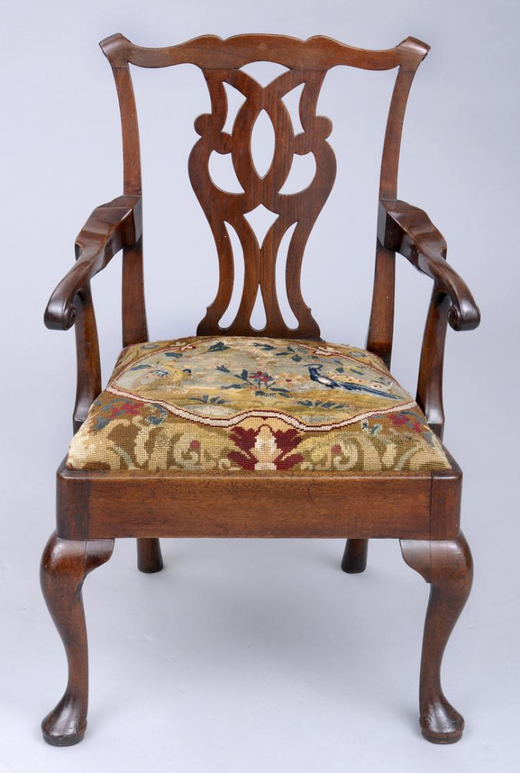George III Chippendale Period Armchair, Circa 1760