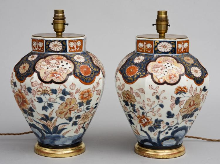 Pair Imari Vase Lamps Circa 1840