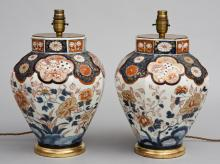 Pair Imari Vase Lamps, Circa 1840