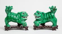 Pair of Chinese Green Glazed Foo Dogs