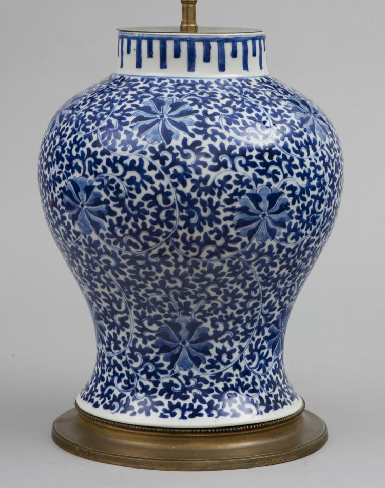 Chinese Blue White Porcelain Vase Lamp Circa 1880