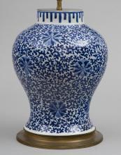 Chinese Blue & White Porcelain Vase Lamp, Circa 1880